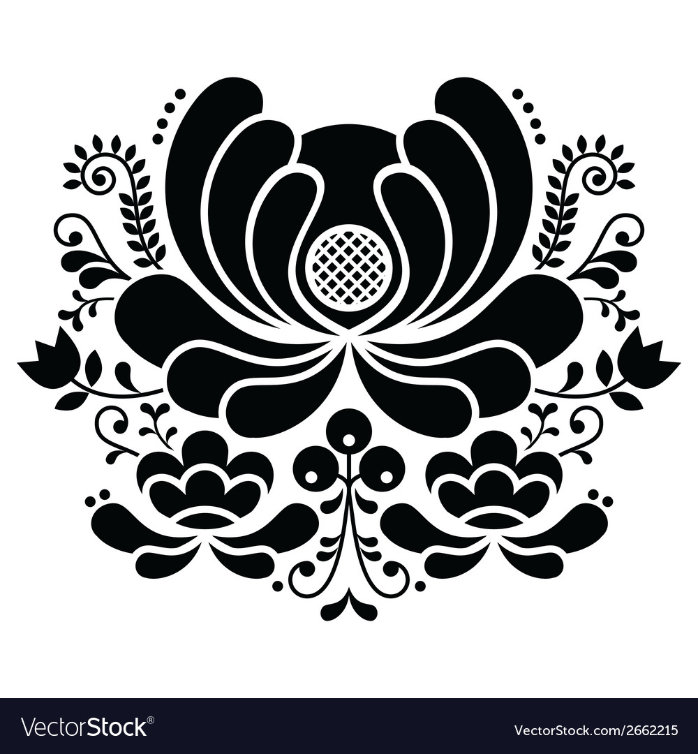 Norwegian folk art black and white pattern vector | Price: 1 Credit (USD $1)