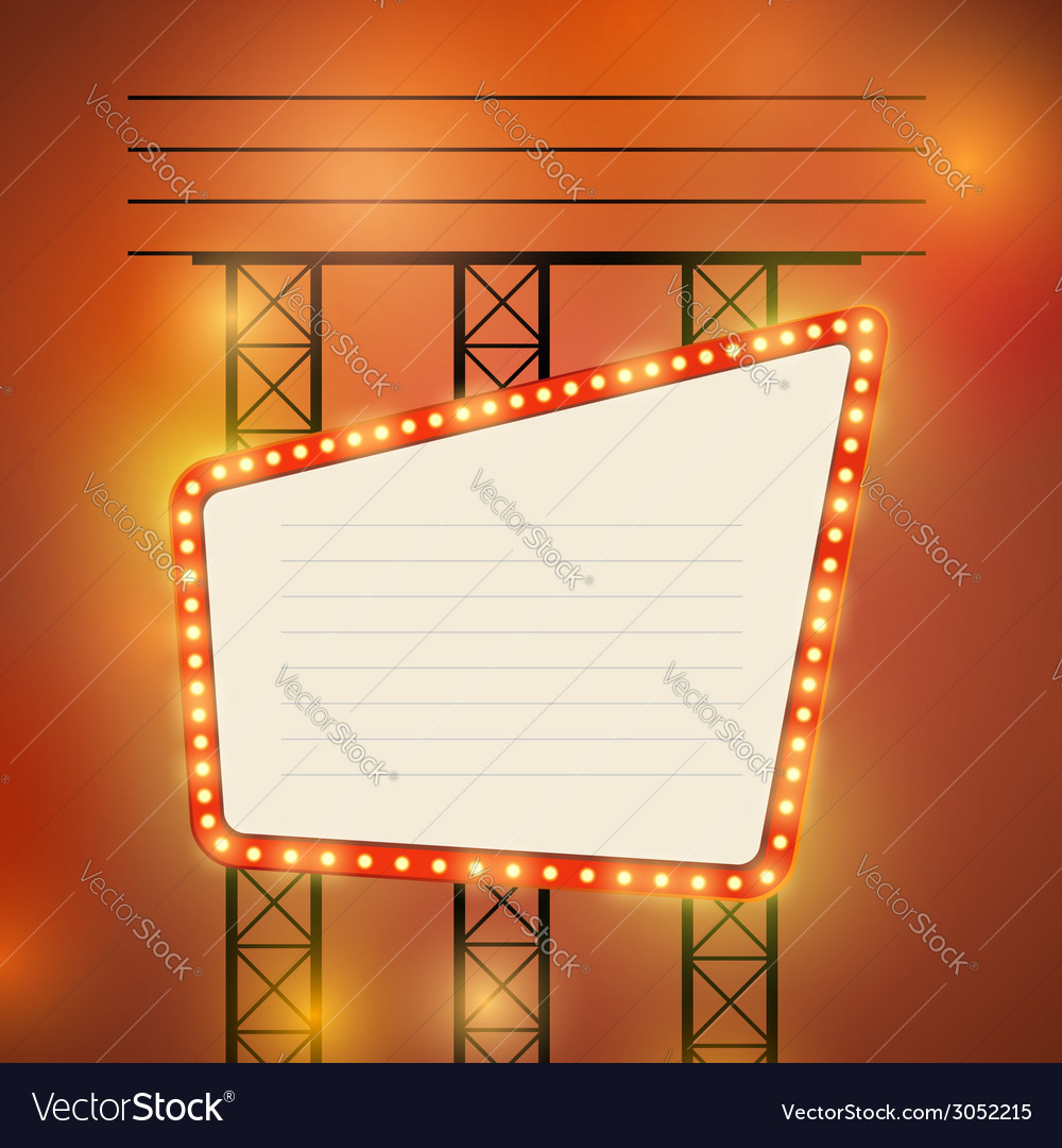 Retro cinema theater bright bulb sign vector | Price: 1 Credit (USD $1)