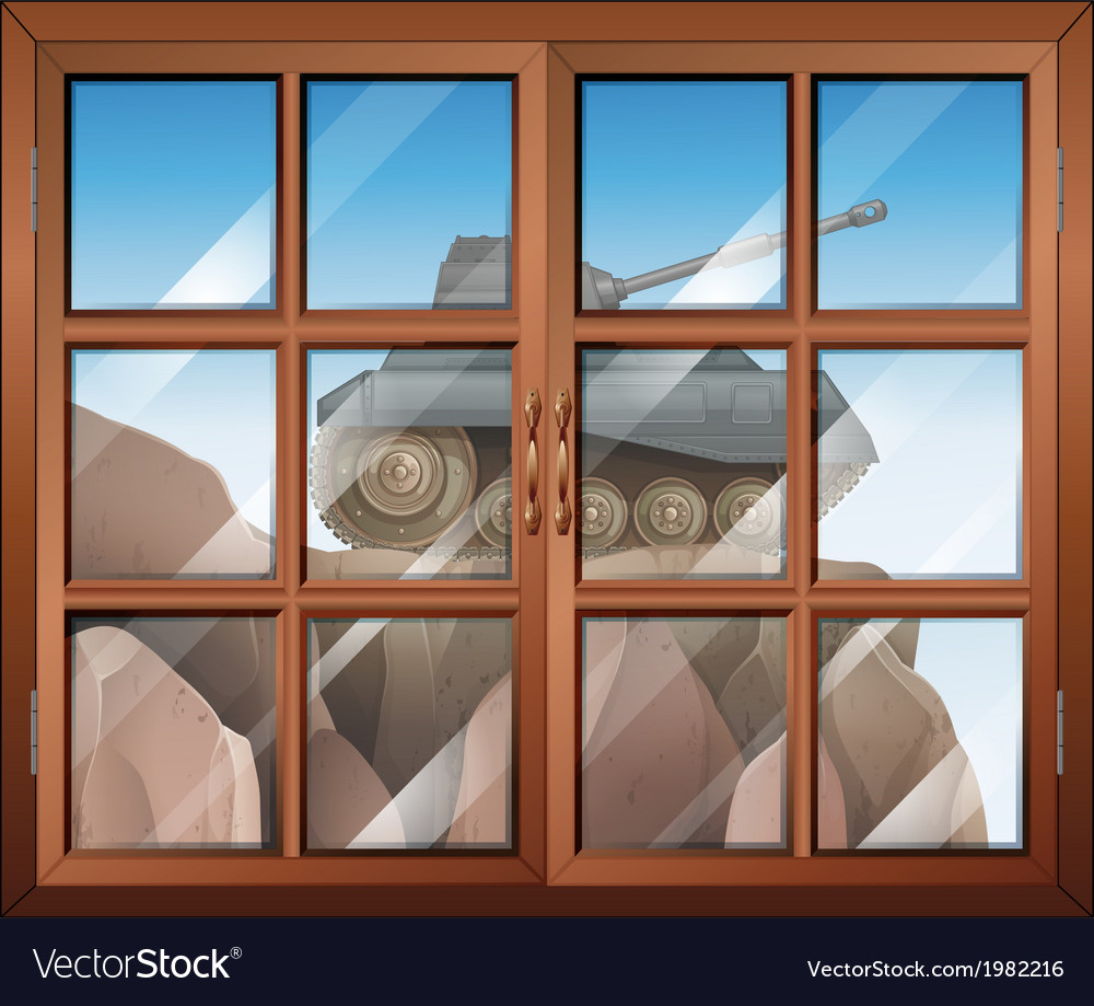 A window across the cliff with a tank vector | Price: 1 Credit (USD $1)