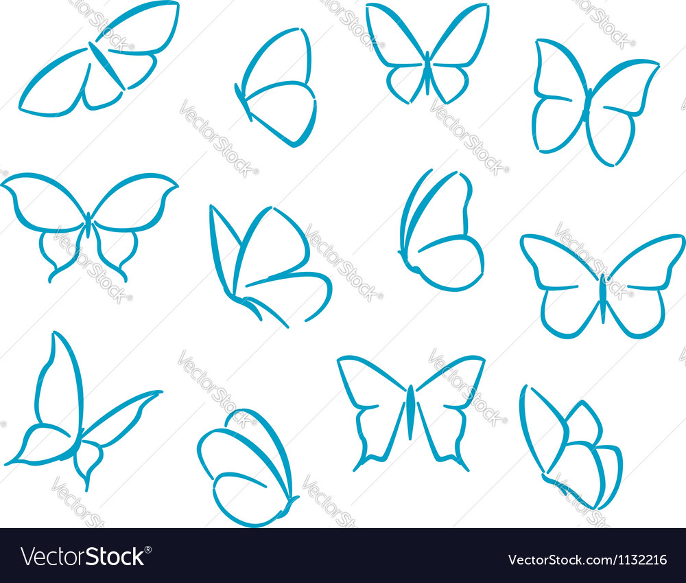Butterflies silhouettes vector | Price: 1 Credit (USD $1)