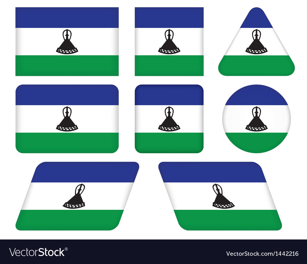 Buttons with flag of lesotho vector | Price: 1 Credit (USD $1)