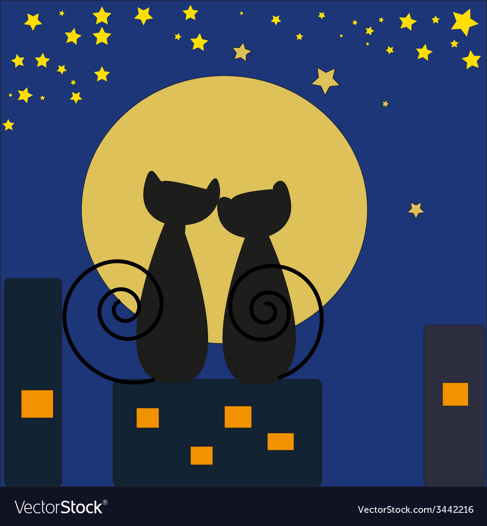 Cats in front of moon vector | Price: 1 Credit (USD $1)