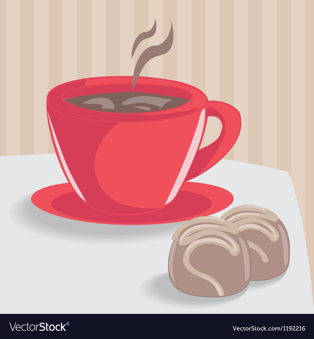 Cup of coffee with chocolate cakes vector | Price: 1 Credit (USD $1)