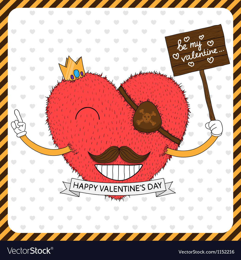 Cute fluffy heart with mustache vector | Price: 1 Credit (USD $1)