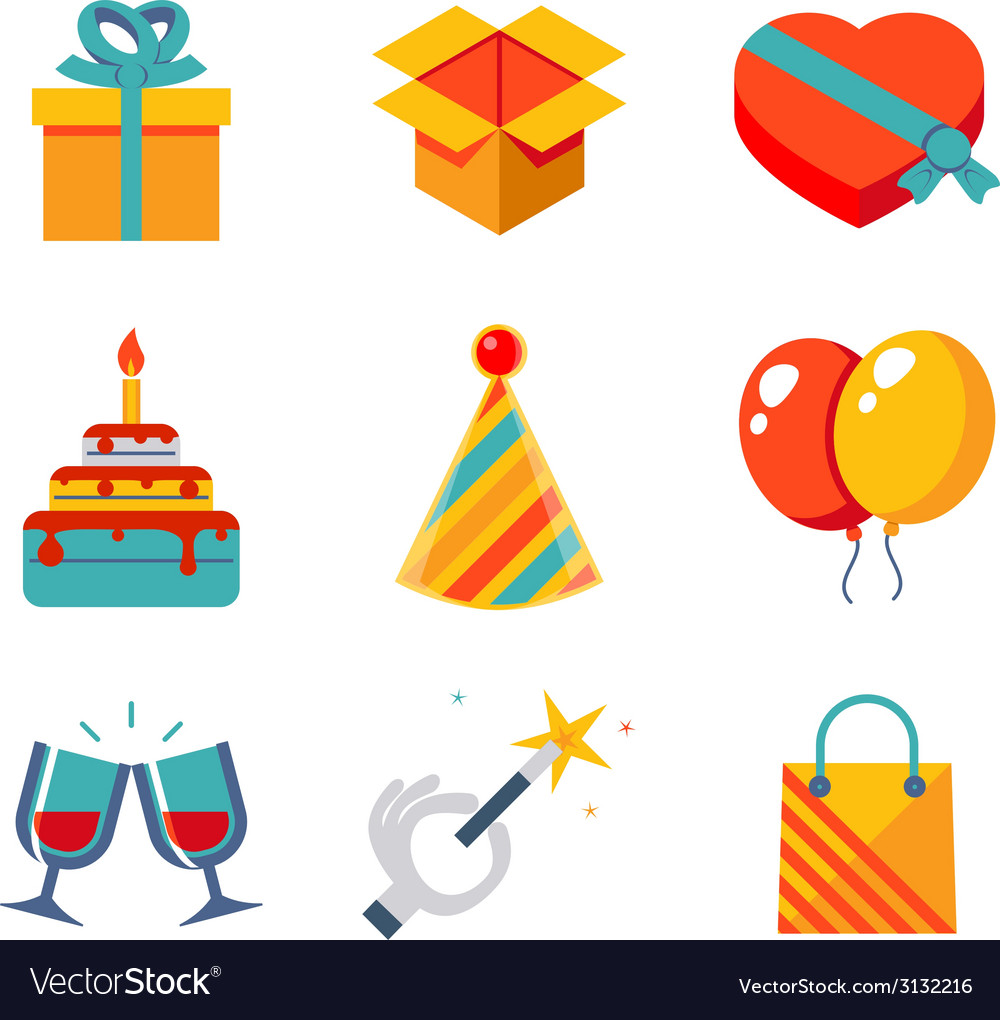 Isolated flat icons set gift party birthday vector | Price: 1 Credit (USD $1)
