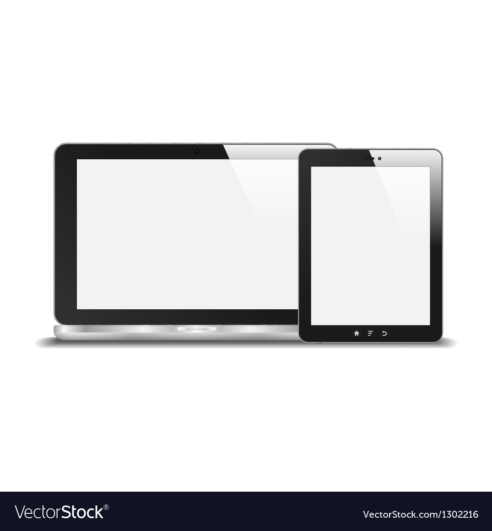 Realistic notebook and tablet pc with blank screen vector | Price: 1 Credit (USD $1)