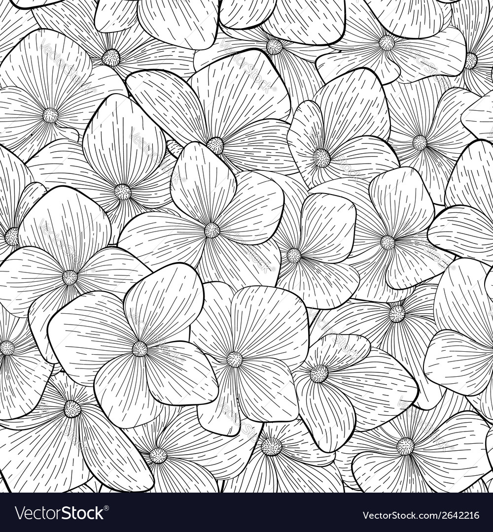 Seamless pattern with black and white flowers vector | Price: 1 Credit (USD $1)
