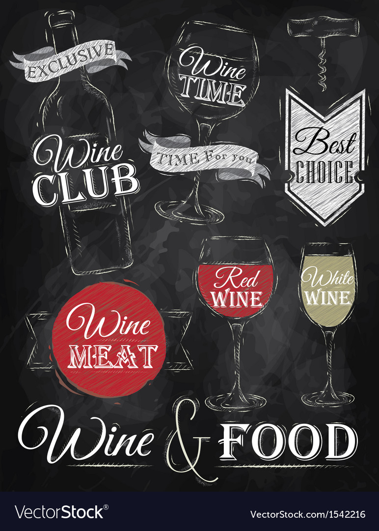 Set wine chalk vector | Price: 1 Credit (USD $1)