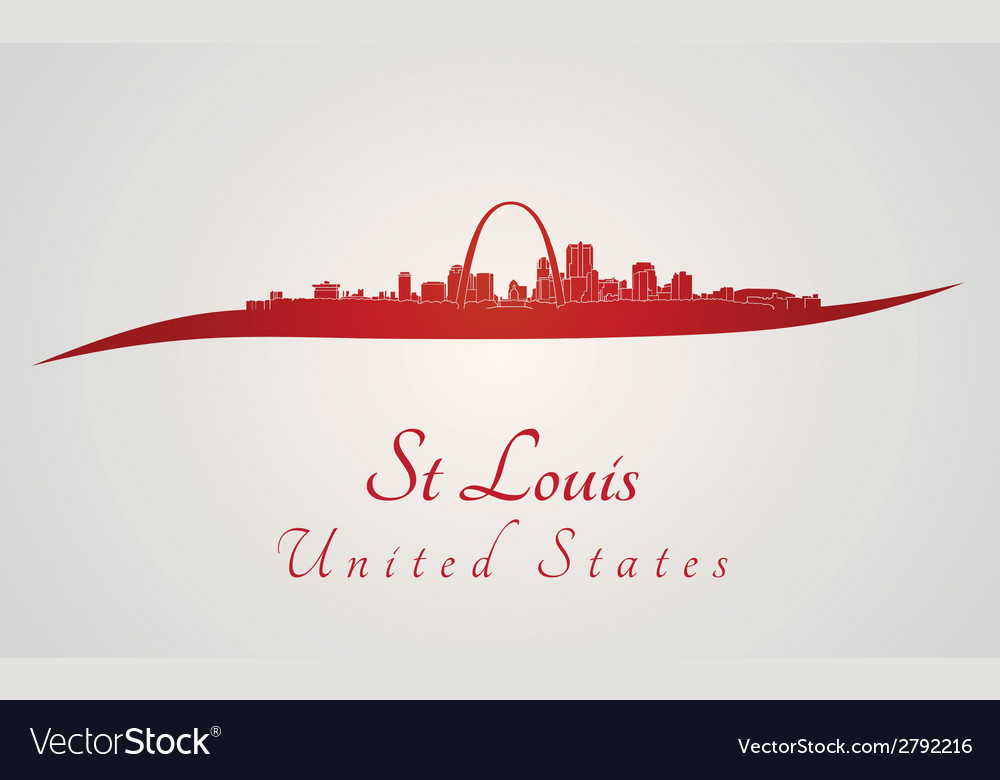 St louis skyline in red vector | Price: 1 Credit (USD $1)