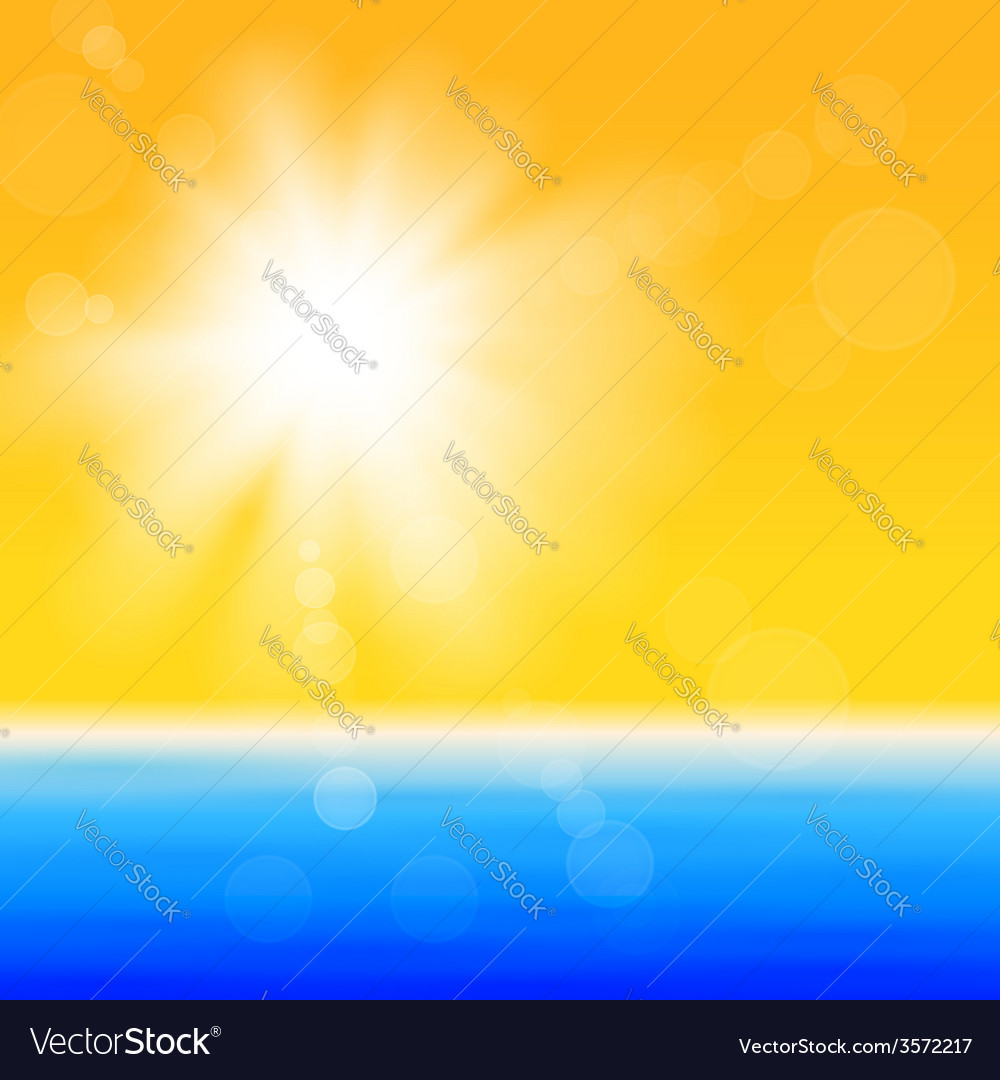 Background with shiny sun over the sea vector | Price: 1 Credit (USD $1)