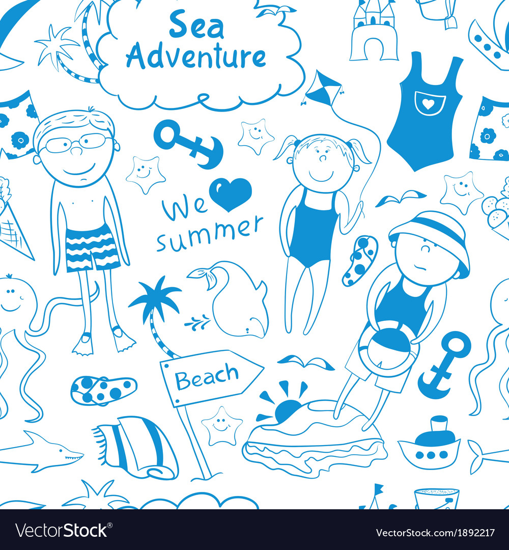 Beach seamless pattern in doodle style vector | Price: 1 Credit (USD $1)
