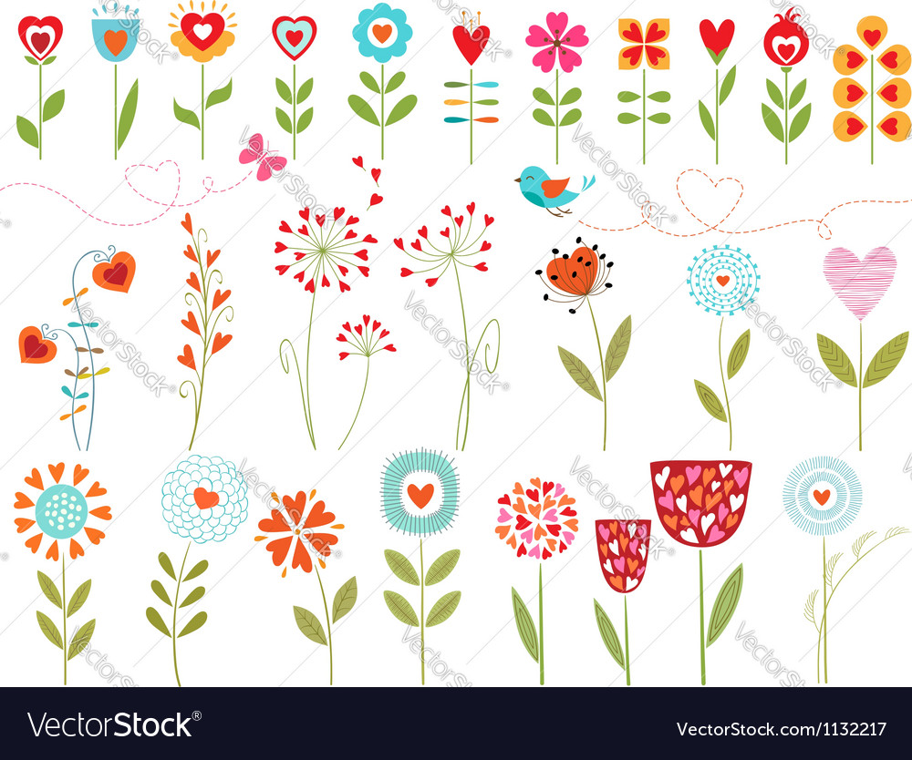Floral hearts vector | Price: 1 Credit (USD $1)