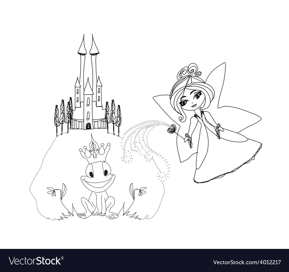 Frog prince cartoon character and beautiful fairy vector | Price: 1 Credit (USD $1)