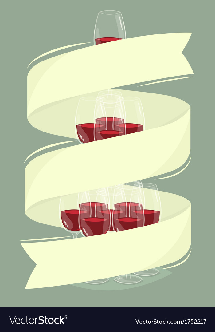 Glass tower of wine with banner vector | Price: 1 Credit (USD $1)
