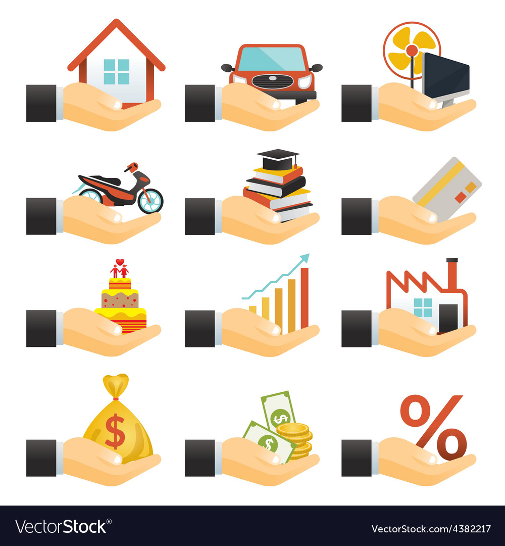 Loan hands with objects credit vector | Price: 1 Credit (USD $1)