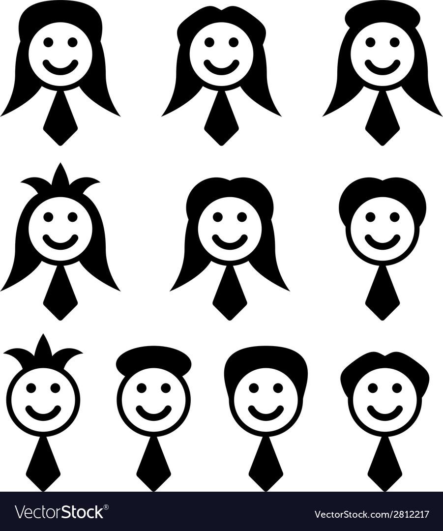 Male female face symbols vector | Price: 1 Credit (USD $1)