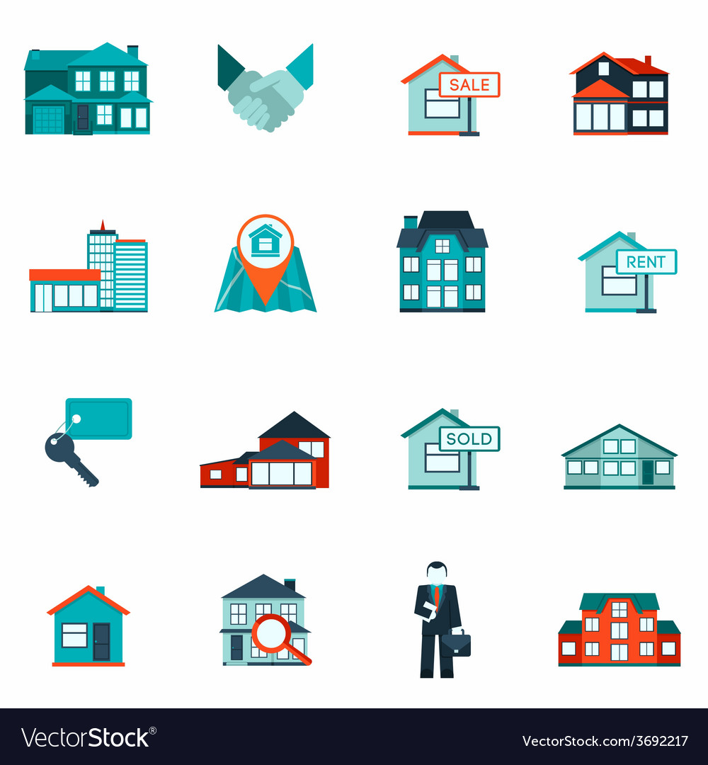 Real estate icon flat vector | Price: 1 Credit (USD $1)