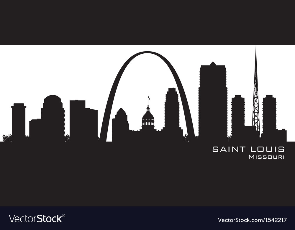 Saint louis missouri skyline detailed silhouette vector | Price: 1 Credit (USD $1)