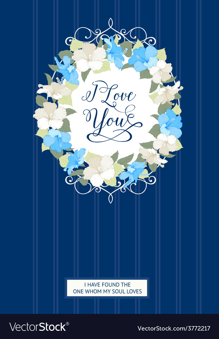 Wedding card with gibiscus flowers vector | Price: 1 Credit (USD $1)