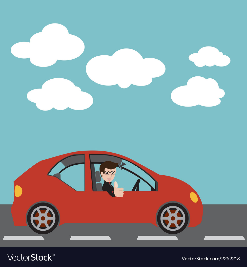 Businessman in a red car vector   Price: 1 Credit (USD $1)