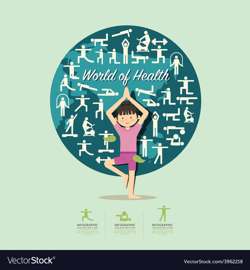 Flat icons with yoga girl character design vector | Price: 1 Credit (USD $1)