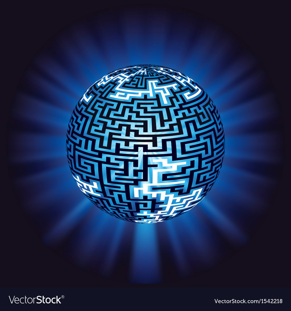 Globe labyrinth - maze with illumination vector | Price: 1 Credit (USD $1)