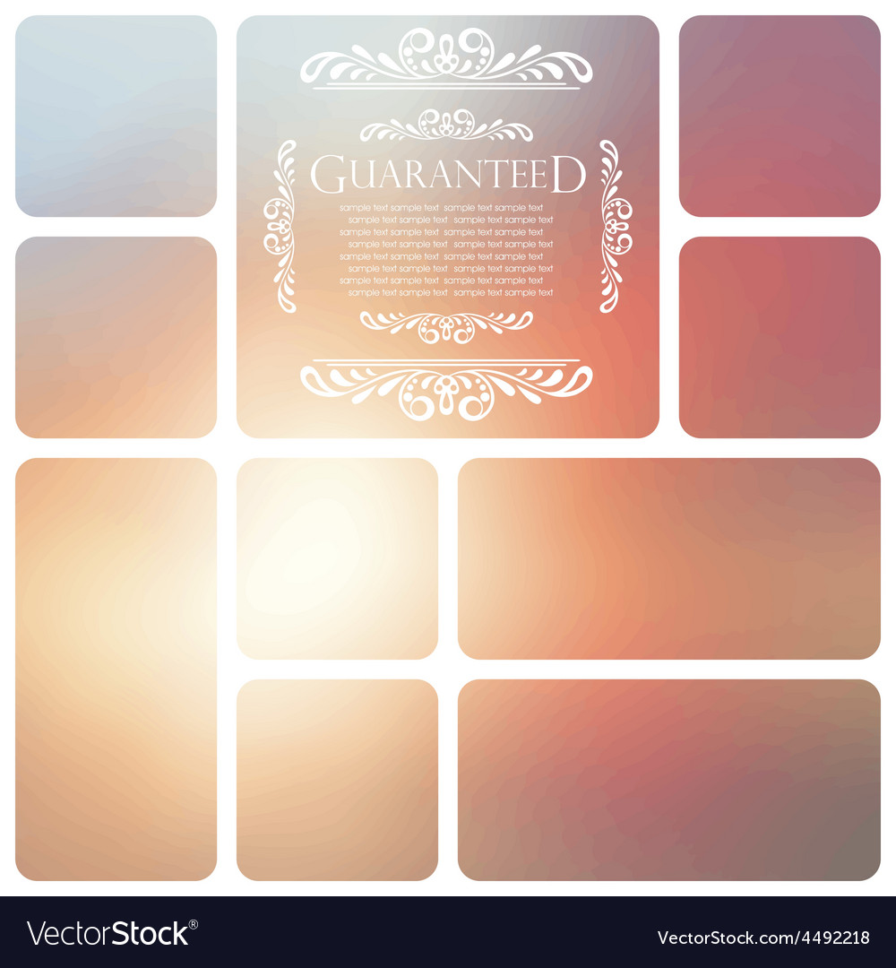 Guaranteed lettering on abstract blurry background vector | Price: 1 Credit (USD $1)