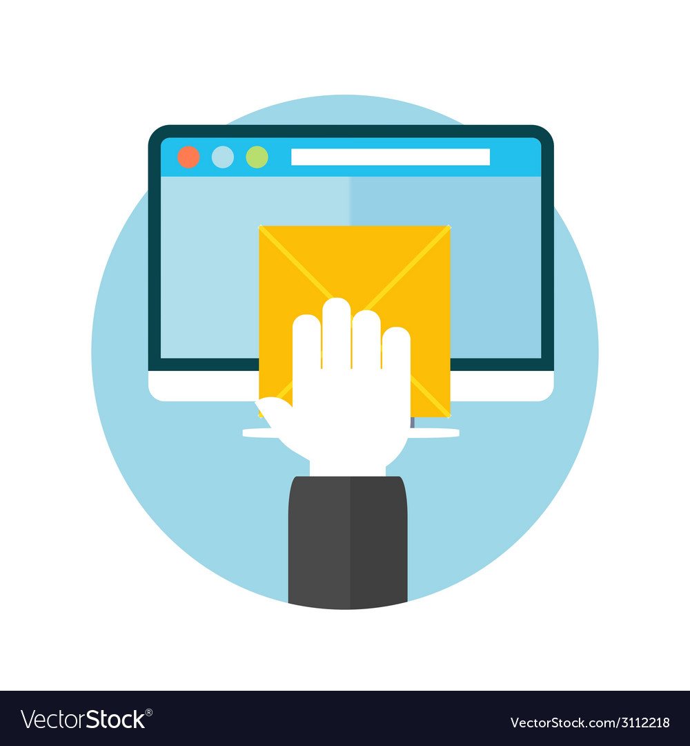 Hand with letter and computer monitor vector | Price: 1 Credit (USD $1)