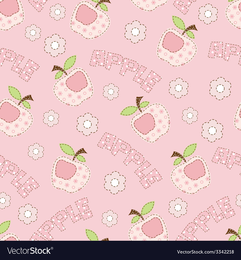 Pink apple seamless pattern vector | Price: 1 Credit (USD $1)