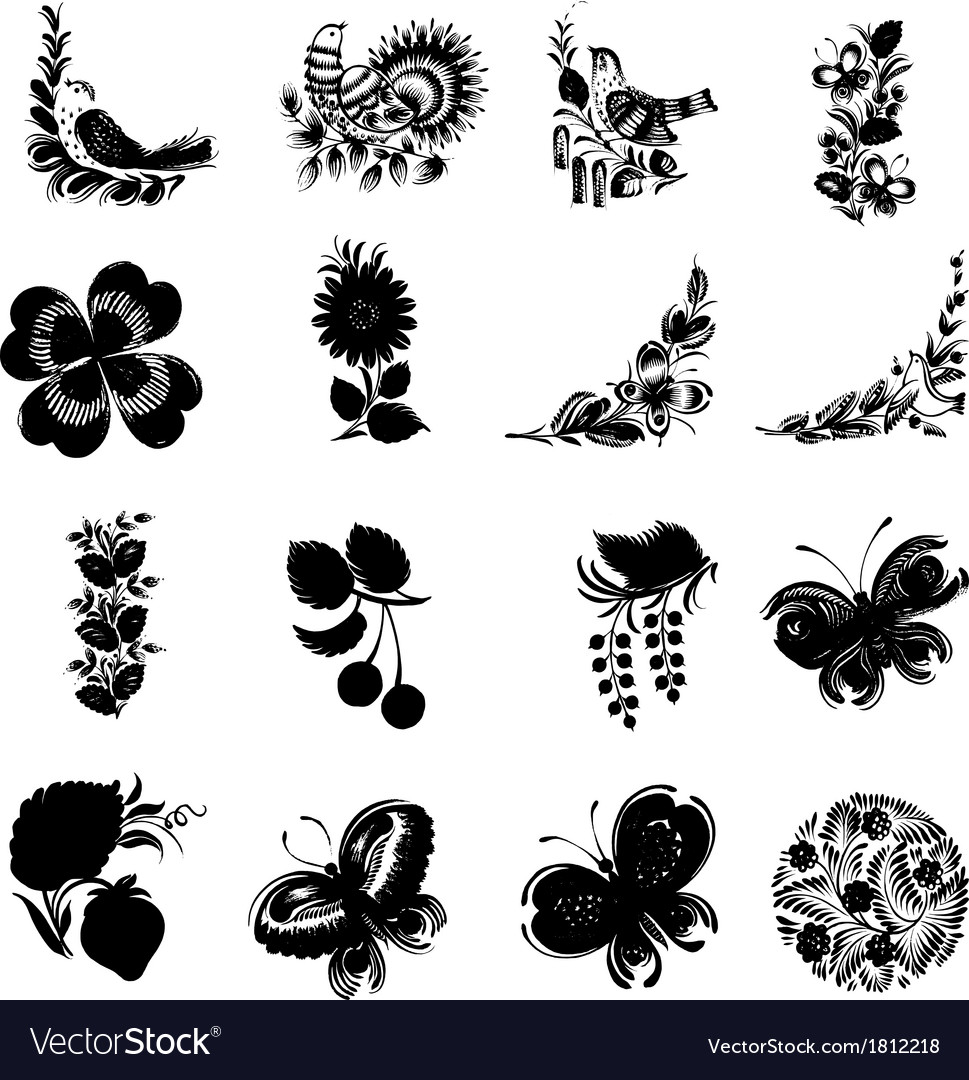 Set of black silhouette vector | Price: 1 Credit (USD $1)
