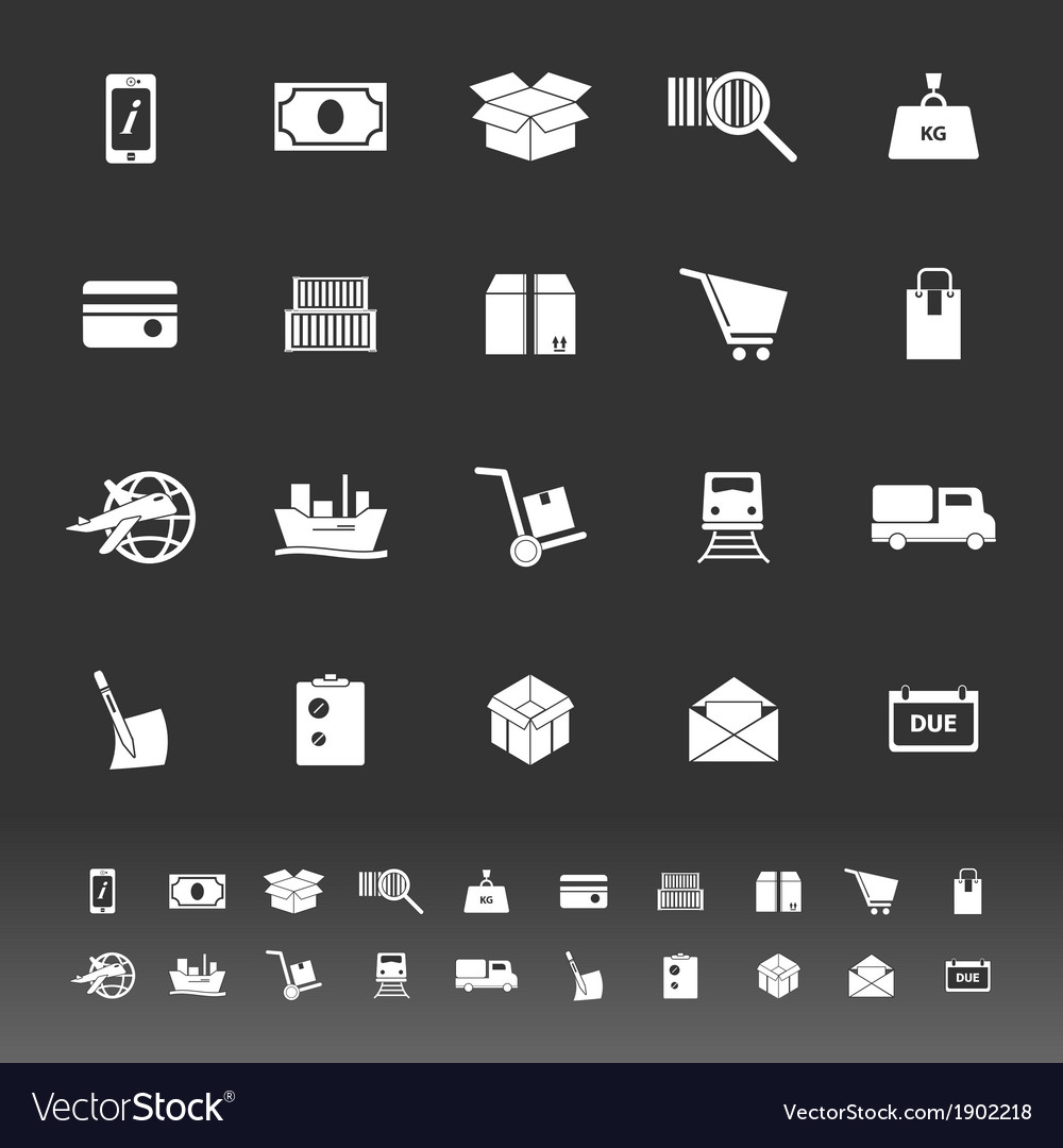 Shipment icons on gray background vector | Price: 1 Credit (USD $1)