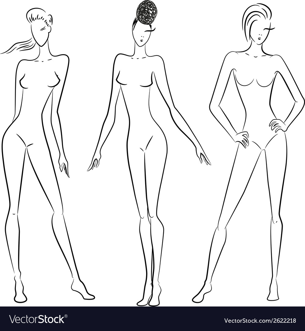 The sketch of women in different poses vector | Price: 1 Credit (USD $1)