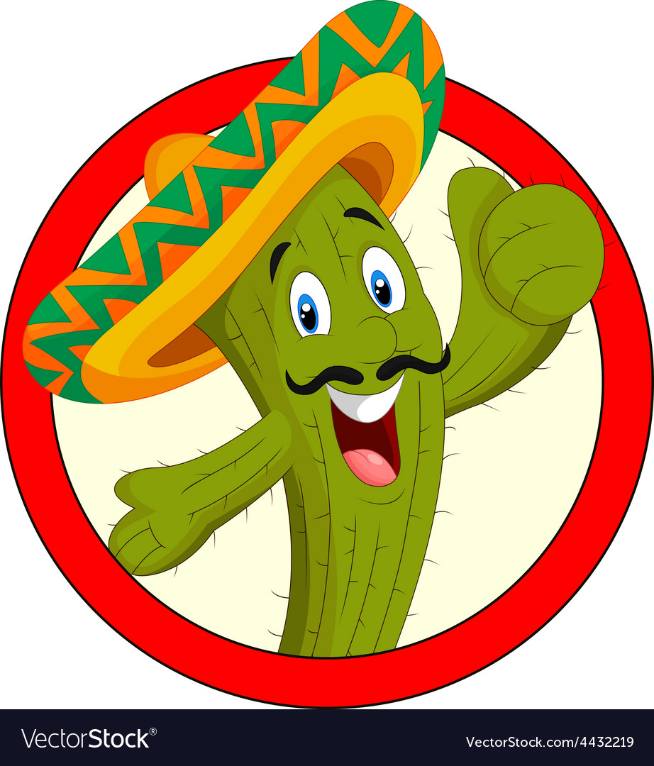 Cartoon mexican cactus character give thumb up vector | Price: 3 Credit (USD $3)