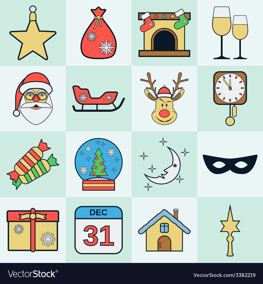 Christmas icons collection vector   Price: 1 Credit (USD $1)
