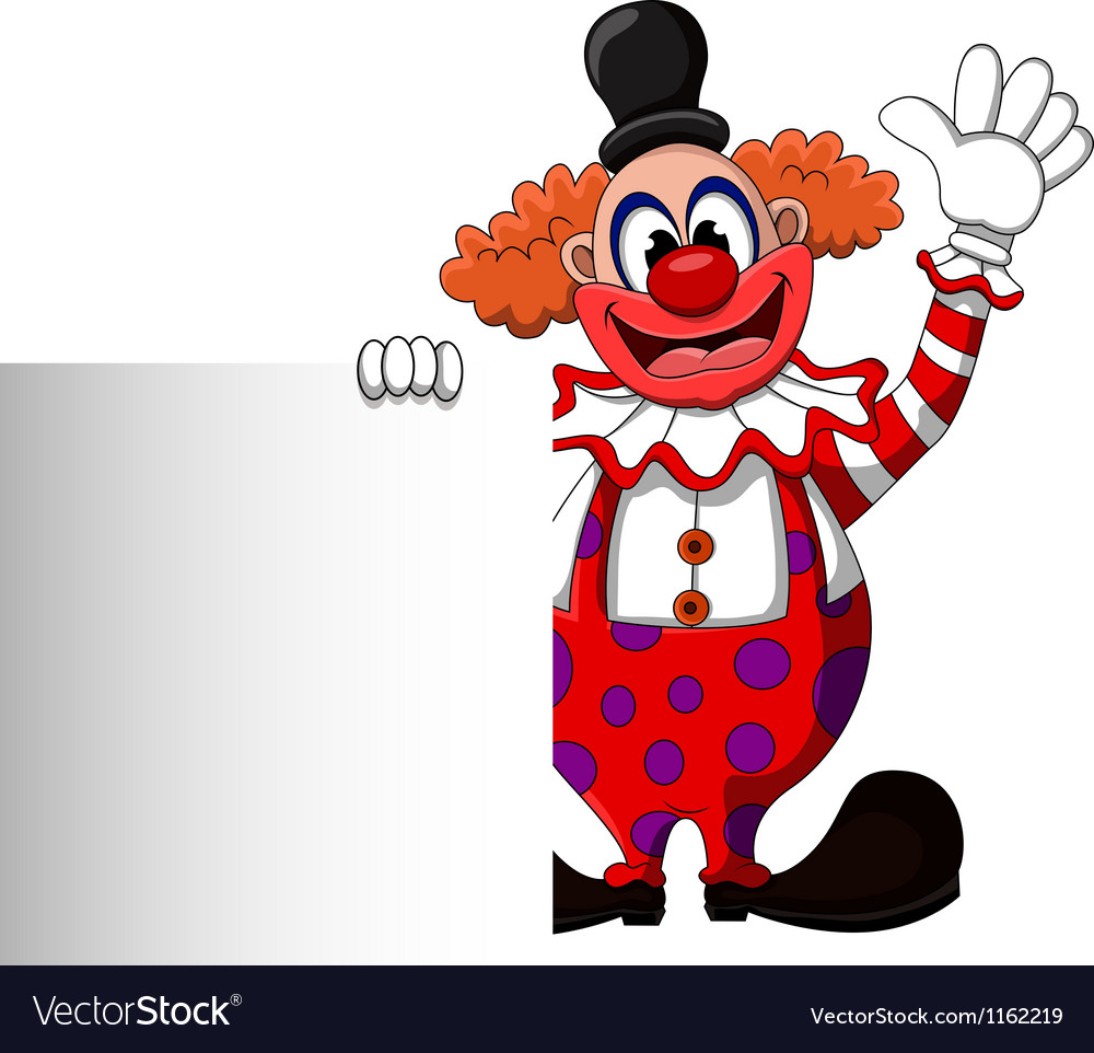 Cute clown cartoon with blank sign vector | Price: 1 Credit (USD $1)