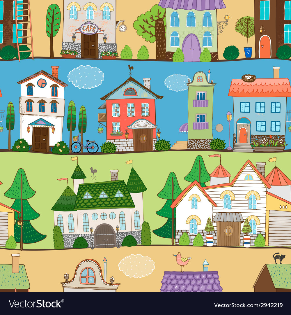 Cute houses castles and establishments design vector | Price: 1 Credit (USD $1)