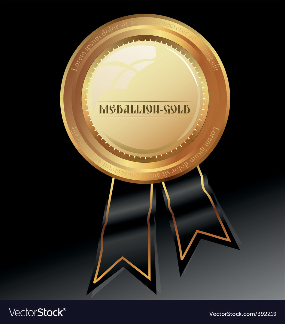 Golden medallion with wax seal vector | Price: 1 Credit (USD $1)
