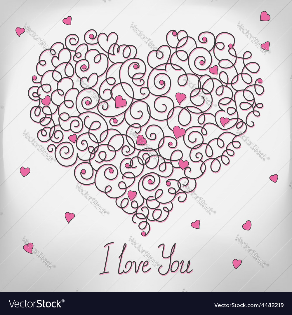 Greeting card with floral heart shape i love you vector | Price: 1 Credit (USD $1)