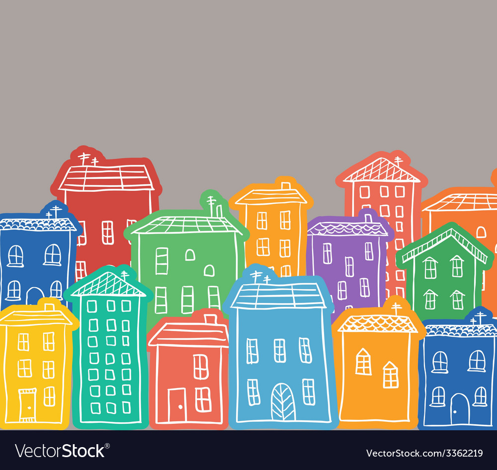 Houses colored doodles vector | Price: 1 Credit (USD $1)