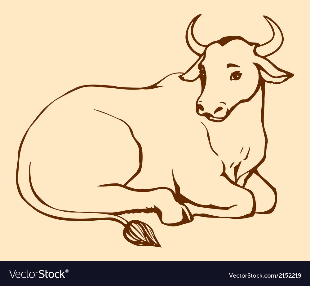 Lying cow with big horns vector | Price: 1 Credit (USD $1)