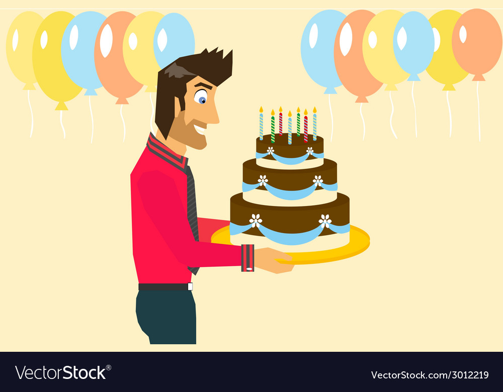 Smiling man is celebrating birthday vector | Price: 1 Credit (USD $1)