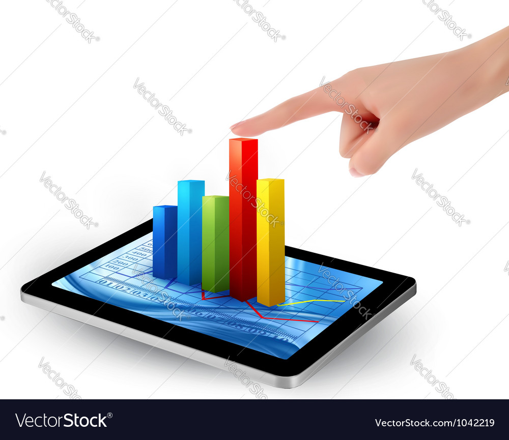 Tablet screen with graph and a hand vector | Price: 3 Credit (USD $3)