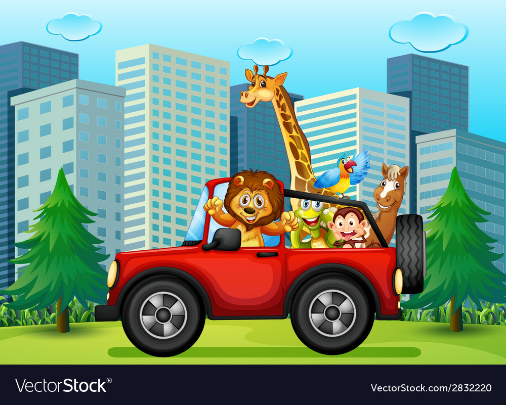 A jeepney with animals vector | Price: 1 Credit (USD $1)