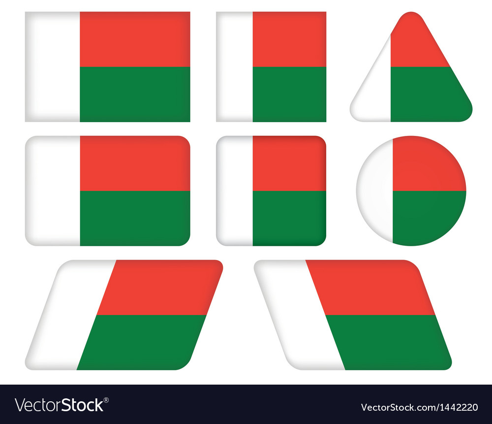 Buttons with flag of madagascar vector | Price: 1 Credit (USD $1)
