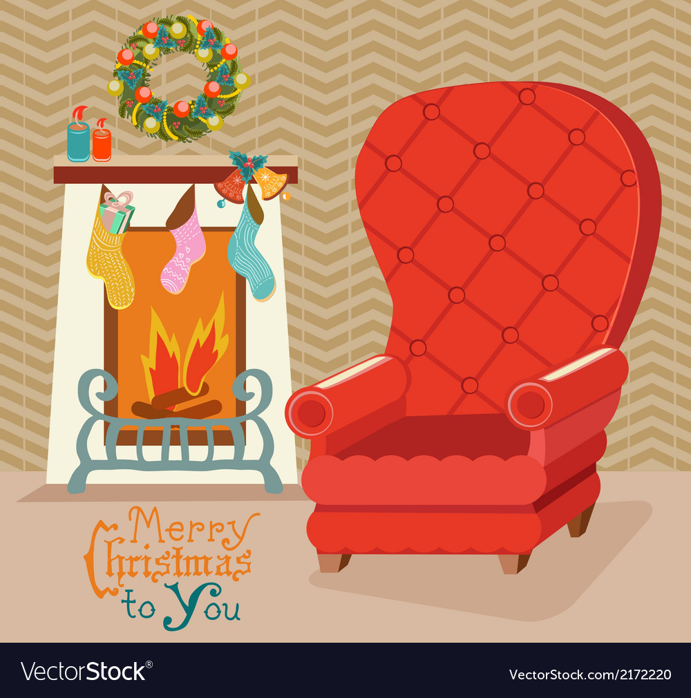 Color retro room with fireplace and big soft chair vector | Price: 1 Credit (USD $1)