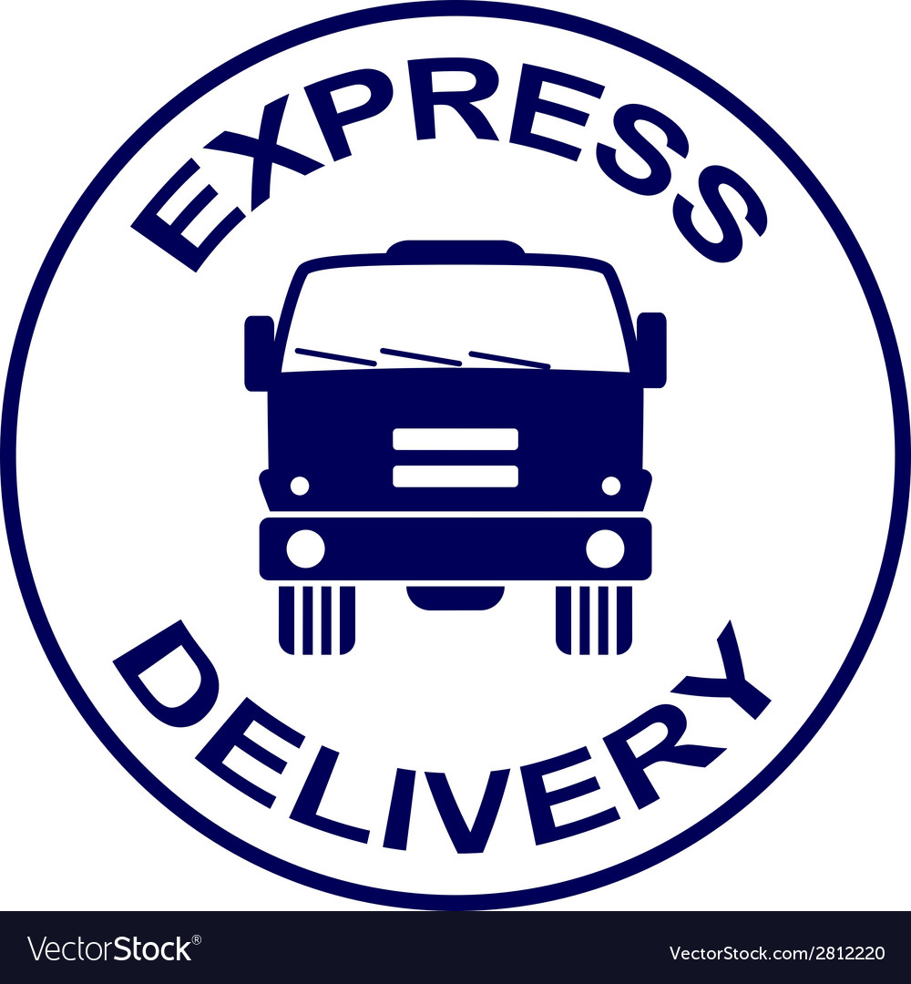Express delivery stamp - truck silhouette vector | Price: 1 Credit (USD $1)