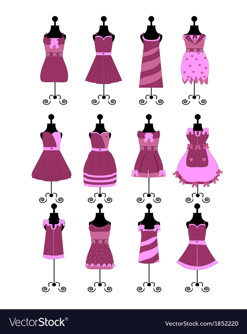 Fashion dresses and hats vector | Price: 1 Credit (USD $1)