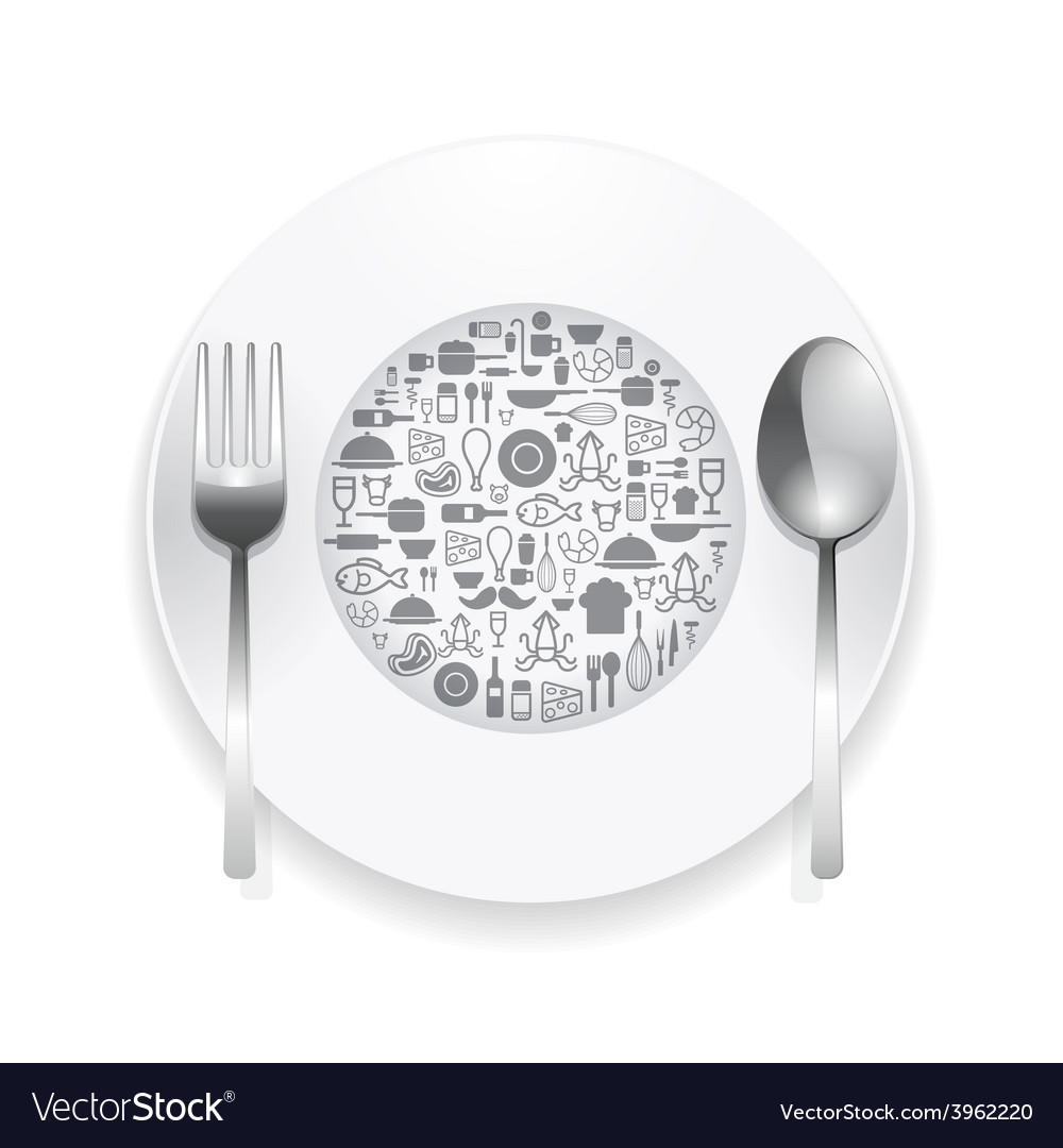 Flat icons plate foods concept vector | Price: 1 Credit (USD $1)