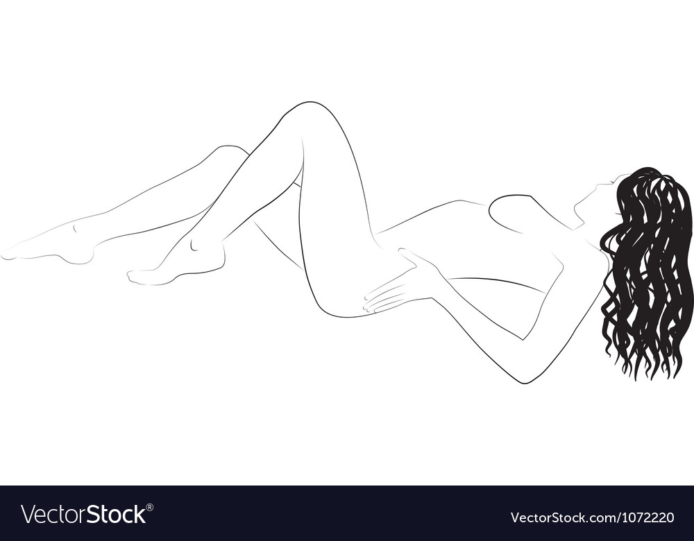 Nude woman body outline vector | Price: 1 Credit (USD $1)