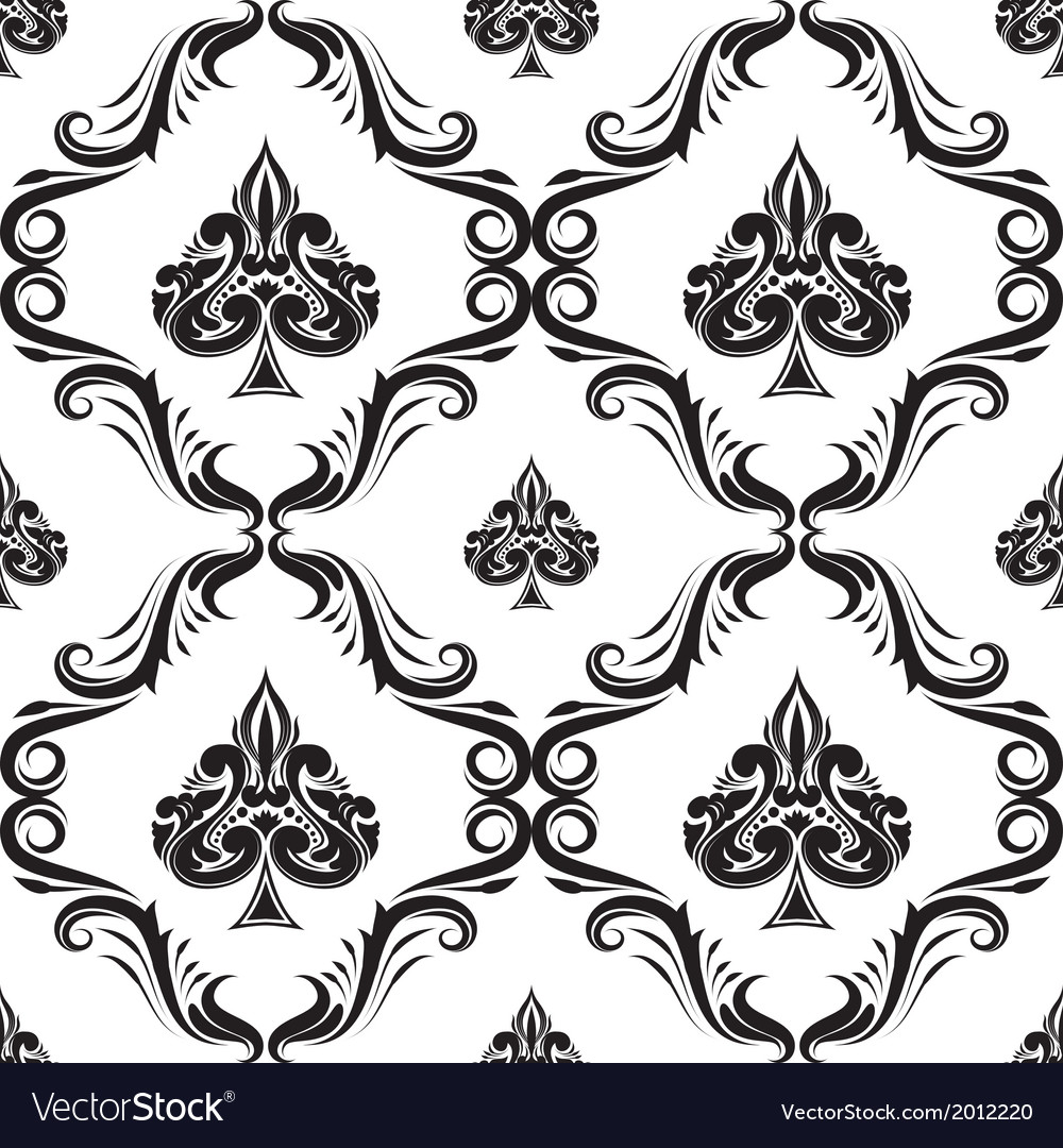 Pattern spades ornamental black and white vector | Price: 1 Credit (USD $1)